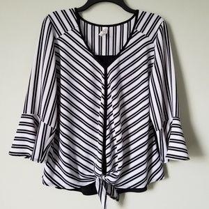 NWOT Black Striped Ruffle Sleeve Blouse
